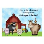 Cute Barnyard Farm Animal Birthday Invitations
