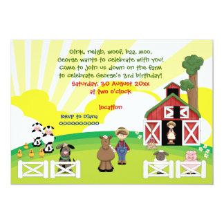 Cute barnyard farm animal kids birthday card
