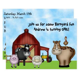 Cute Barnyard Farm Animals 1st Birthday Invitation