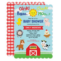 Cute Barnyard Farm Animals Baby Shower Invitation