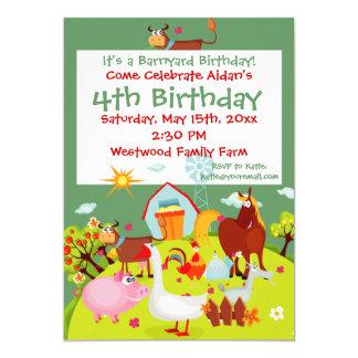 Cute Barnyard Farm Animals Birthday Invitations