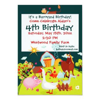 "Cute Barnyard Farm Animals Birthday Invitations 5"" X 7"" Invitation Card"