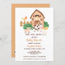 Cute barnyard farm animals neutral baby shower invitation