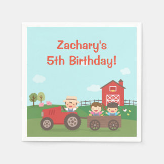 Cute Barnyard Tractor Kids Birthday Party Napkins