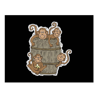 cute barrel of monkeys postcard