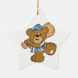 Cute Baseball Bear Double-Sided Star Ceramic Christmas Ornament