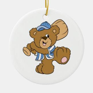 Cute Baseball Bear Double-Sided Ceramic Round Christmas Ornament