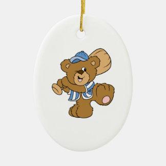 Cute Baseball Bear Double-Sided Oval Ceramic Christmas Ornament