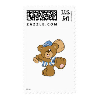 Cute Baseball Bear Postage