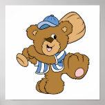 Cute Baseball Bear Print