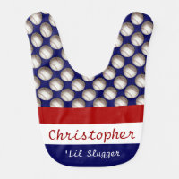 Cute Baseball Bib, 'Lil Slugger, add name Baby Bib