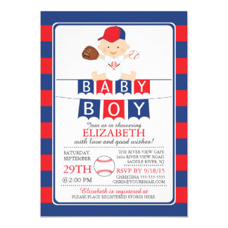Cute Baseball Boys Baby Shower Invitation
