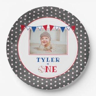 Cute Baseball Chalkboard 1st Birthday Party Photo Paper Plate