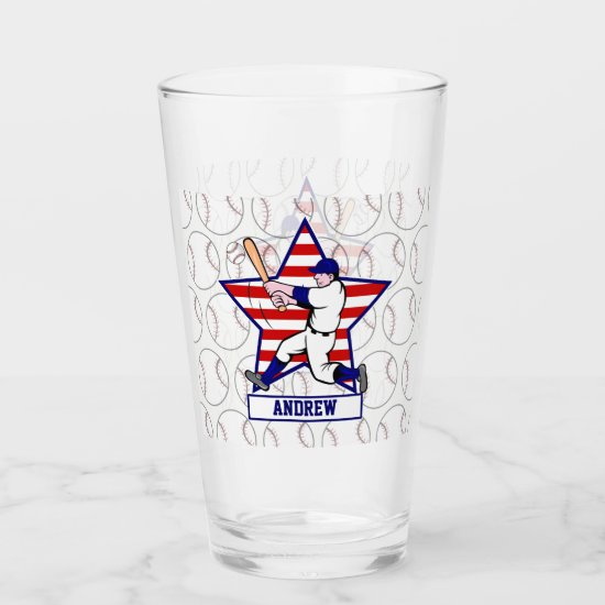 Cute Baseball design featuring a baseball pattern Glas