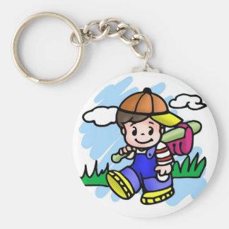 Cute Baseball Kid Basic Round Button Keychain