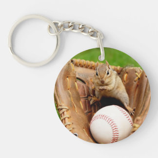 Cute Baseball Loving Chipmunk Keychain
