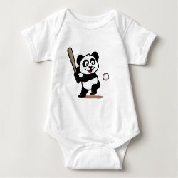 Baby Jersey Bodysuit with Baseball Panda design
