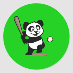 Round Sticker with Baseball Panda design