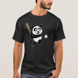 Men's Basic Dark T-Shirt with Baseball Panda design