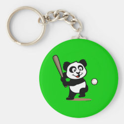 Basic Button Keychain with Baseball Panda design