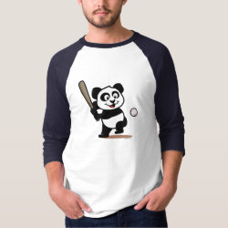 Men's Basic 3/4 Sleeve Raglan T-Shirt with Baseball Panda design