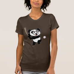 Women's American Apparel Fine Jersey Short Sleeve T-Shirt with Baseball Panda design