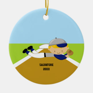 Cute Baseball Player in Blue & Grey Ornament
