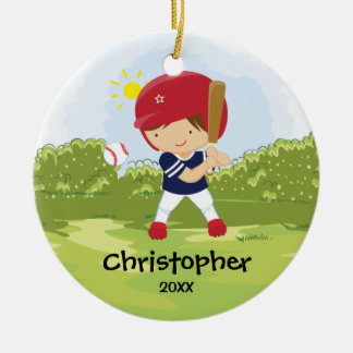Cute Baseball Player Sport Christmas Ornament