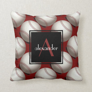 Cute Baseballs w Initial & Name, Customized Throw Pillow