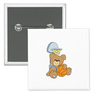 Cute Basketball Bear Button
