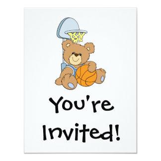 Cute Basketball Bear 4.25x5.5 Paper Invitation Card