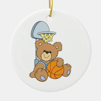 Cute Basketball Bear Double-Sided Ceramic Round Christmas Ornament