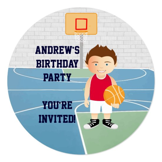 Cute Basketball kids Birthday Party Invitation