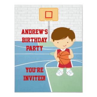Cute Basketball kids Birthday Party Invitation
