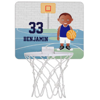 Cute Basketball Player Blue | White Mini Basketball Backboard