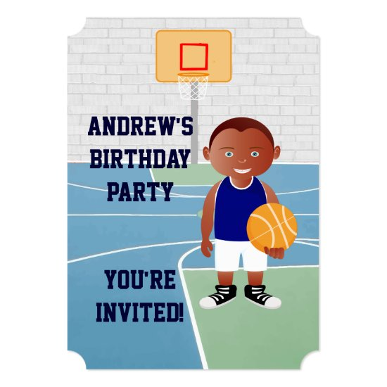 Cute Basketball Player Invitation
