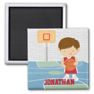 Cute basketball player red basketball jersey 2 inch square magnet
