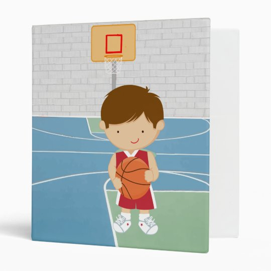 Cute basketball player red basketball jersey 3 ring binder