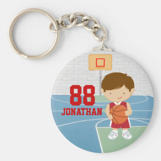 Cute basketball player red basketball jersey basic round button keychain