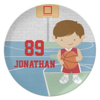 Cute basketball player red basketball jersey melamine plate