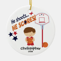 Cute Basketball Player Sport Christmas Ornament