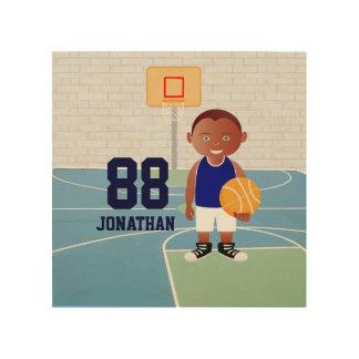 Cute Basketball Player Wood Print