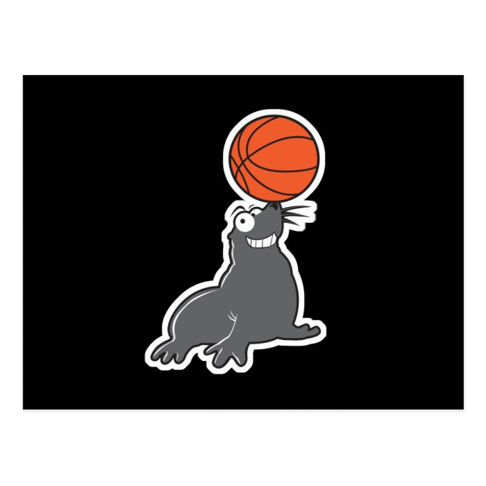 cute basketball seal postcard