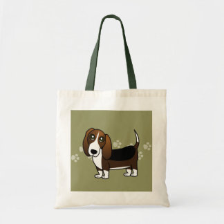 Cute Basset Hound Cartoon - Brown White and Black Budget Tote Bag