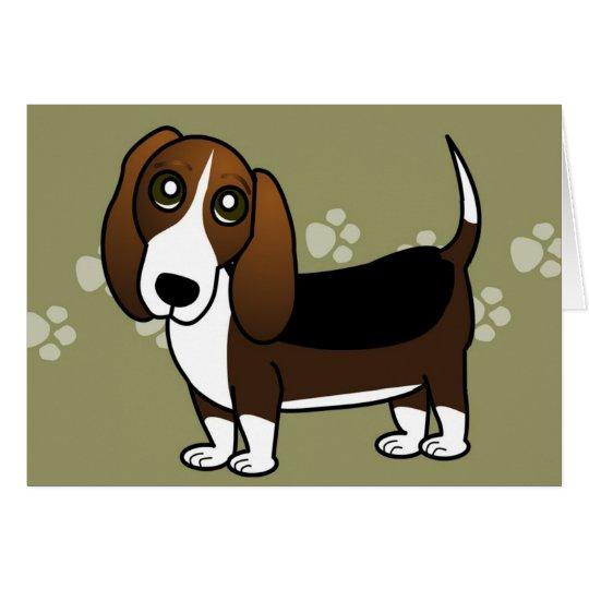 Cute Basset Hound Cartoon - Brown White and Black Card