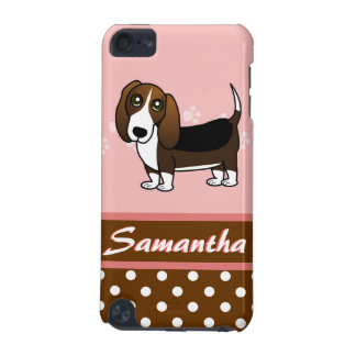 Cute Basset Hound Cartoon - Brown White and Black iPod Touch 5G Covers
