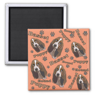 Cute Basset Hound Paw Prints Pattern 2 Inch Square Magnet
