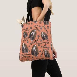 Cute Basset Hound Paw Prints Pattern Tote Bag