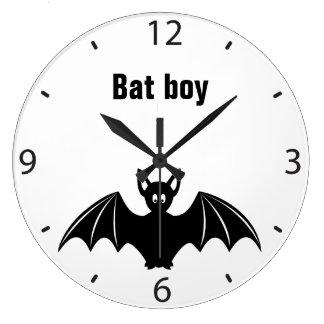 Cute bat cartoon pun joke wall clock