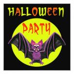 "Cute Bat Halloween Party 5.25"" Square Invitation Card"